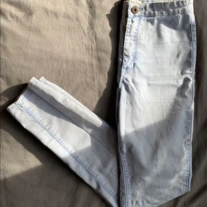 Ultra high waisted light wash skinny jeans